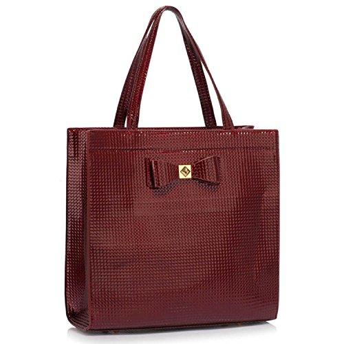 Xardi London nuevo gran funda damas bolso bandolera de piel sintética mujer bolso A4 Burgundy Style 2