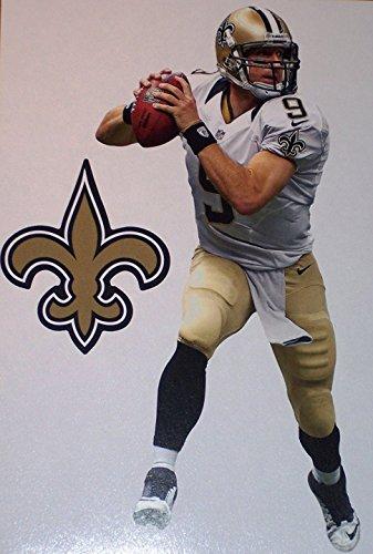 "Price comparison product image Drew Brees Mini FATHEAD + New Orleans Saints Logo Official NFL Vinyl Wall Graphics 7"" INCH"