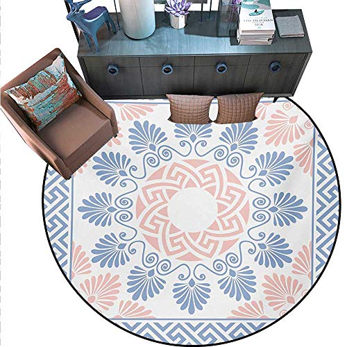 Hellenic Area Rugs - Greek Key Round Area Rug Carpet Pastel Pink White Blue Round Floral Grecian Fret Hellenic Ornament Anti-Skid Area Rug (71