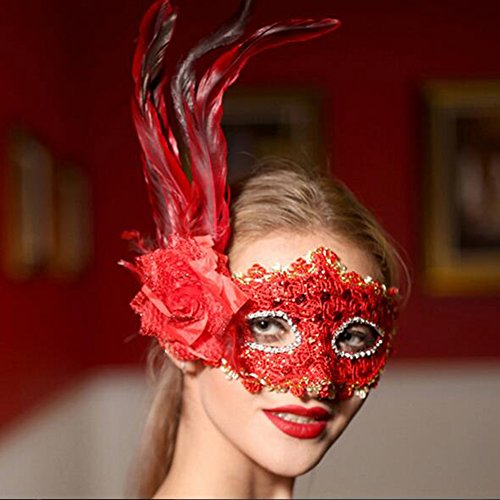 [Dongcrystal Masquerade Venetian Flower Mask Costumes Party Mask - Red Mask] (Masquerade Mask Tattoo)