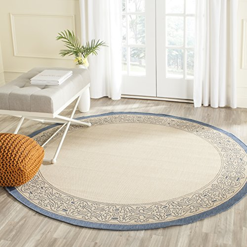 Safavieh Courtyard Collection CY2099-3101 Natural and Blue Indoor/ Outdoor Round Area Rug (6'7