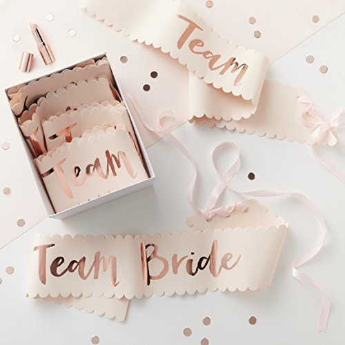 Team Bride Pink and Rose Gold Team Bride Sashes - 6 Pack