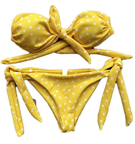 Wofupowga Womens Tie Side Strapless Printed Bowknot Beach Bikini Sets Yellow (Full Back Pucker Tie)