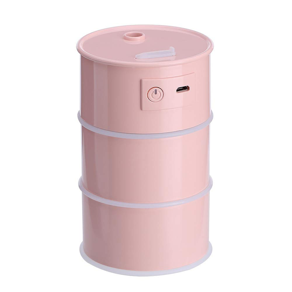 Mini Humidifier Creative Oil Drum Design 175ML Portable Essential Oil Aroma Diffuser Cool Mist Humidifier with Auto Shut Off for Home Bedroom Car Office (pink)