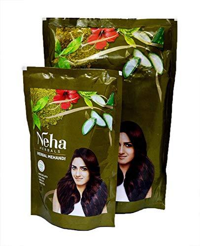 Indianbeautifulstore 4 Pack Green Tea Aloe Vera Neha Herbal Hair Mehandi Brown Paste 100% Herbal Base