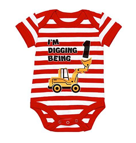 Tstars 1st Birthday Bulldozer Construction Infant Boy Baby Bodysuit 18M red/White ()