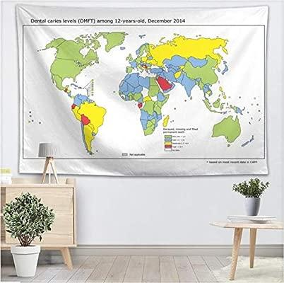 YUYINGXIANG Color Mapa del Mundo Tapiz de Pared Decoración ...