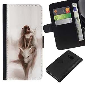 All Phone Most Case / Oferta Especial Cáscara Funda de cuero Monedero Cubierta de proteccion Caso / Wallet Case for HTC One M7 // Watercolor Fairytale Dream Woman