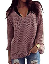 Thanth Womens Casual Hollow Knit VNeck Blouse Pullover...