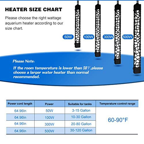 UPETTOOLS Submersible Aquarium Heater, Aquarium Fish Tank Water Thermostat, Adjustable for 3~120 Gallon with Temperature Controller 50W/100W/300W/500W.