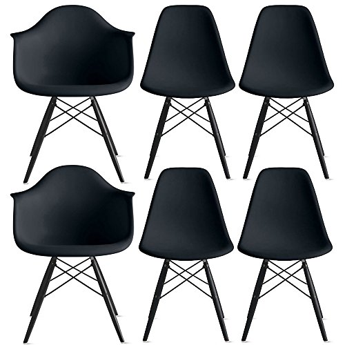 2xhome – Set of Six (6) - Black - Hardwood Solid Wood Black Wood - Dinning Arm Chair - Dinning Side Chair Eames Style Eames Arm Chair Ray Chair Molded (6 Arm Chair Set)