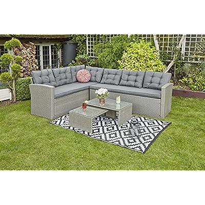 YAKOE Rosen 6 Seater Grey Rattan Garden Corner Sofa Set