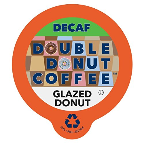 Double Donut Coffee Decaf Glazed Donut Flavored Coffee Single Serve Cups For Keurig K Cup Brewer (24 Count)