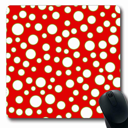 Ahawoso Mousepads for Computers Abstract Red Bright Tossed Circles Pattern Circus Wall Green Bubble Bubbly Celebrate Chartreuse Oblong Shape 7.9 x 9.5 Inches Non-Slip Oblong Gaming Mouse Pad
