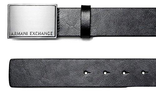 Logo Plaque Buckle Belt (Armani Exchange Mens Raised Plaque)