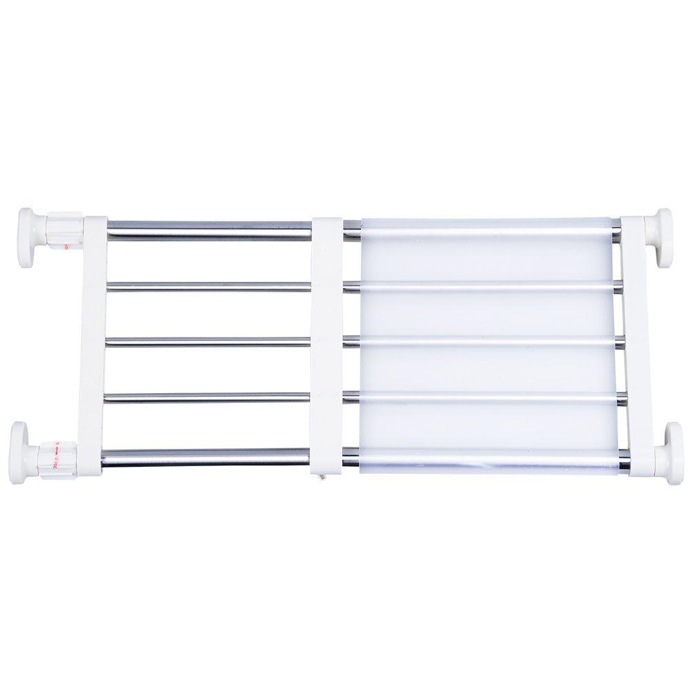 Hershii Closet Tension Shelf & Rod Expandable Metal Storage Rack Adjustable Organizer DIY Divider Separator for Cabinet Wardrobe Cupboard Kitchen Bathroom