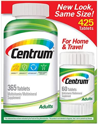 Centrum Adult Multivitamin/Multimineral Supplement Tablet, Vitamin D3, 365 + 60 Tablets