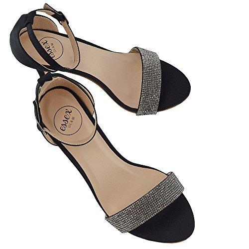 ESSEX GLAM Mujer Tacón Bajo Estilete Peep Toe Diamante Sintético Sandalia Negro Satín