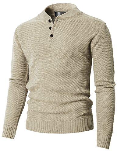 H2H Men's Mock Neck Quarter Zip Sweater Ivory US L/Asia XL (KMOSWL0202)
