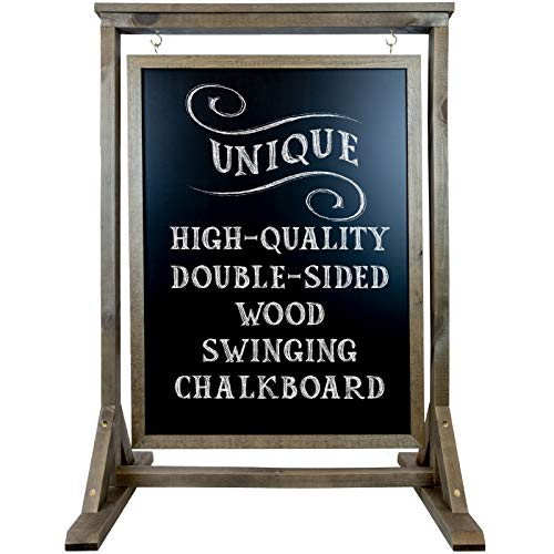 Rustic Handcrafted Chalkboard Sign: Uniquely Designed Wooden Sidewalk Sign Message Board with Double Sided Display. Alternative to A-Frame & Sandwich Board Signs. Use Chalk or Liquid Chalk Markers.