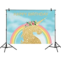 Allenjoy 7x5ft photography backdrops Blue Sky cloud colorful unicorn Birthday party backdrop Rainbow banner gold Glitter photo studio booth background newborn baby shower photocall