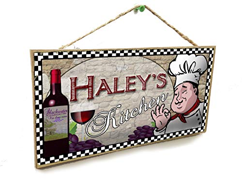 Blackwater Trading Personalized Custom Your Name's Kitchen Italian Fat Chef Style Wine Sign Plaque 5