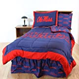 Ole Miss Rebels (3) Piece QUEEN Reversible Comforter Set & Curtain Valance - Includes: (1) QUEEN Reversible Comforter, (2) Shams and (1) Matching Window Curtain Valance