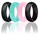XIMAKA 4 Pack Silicone Wedding Ring for Women, Fitness, Exercise, Weight Lifting/Training, Running Ring Comfort Rubber Wedding Bands, Set 1, Size 6