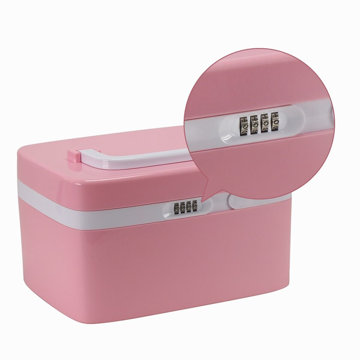 EVERTOP Medicine Cabinet with Coded Lock and Divided Compartments, Pink
