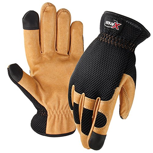 Galeton 12348-XL 12348 maX Extra Touch Pigskin Palm Mesh Back Utility Gloves with Touchscreen Fingertips, X-Large, Beige/Black Pigskin Utility Gloves