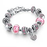 Long Way Silver Tone Chain Pink Crystal Love Heart Bead Glass Charm Bracelet With Extender 7.5''+1.5''
