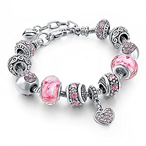 Long Way Silver Tone Chain Pink Crystal Love Heart Bead Glass Charm Bracelet With Extender 7.5″+1.5″