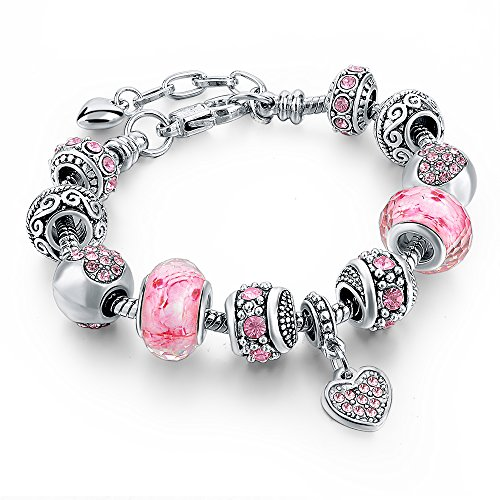 (Long Way Silver Tone Chain Pink Crystal Love Heart Bead Glass Charm Bracelet With Extender 7.5