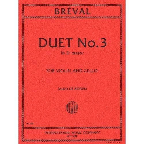 Breval, Jean Baptiste - Duet in D Major Op. 19 No. 3 for Violin and Cello - Arranged by (Violin Cello Duet Music)