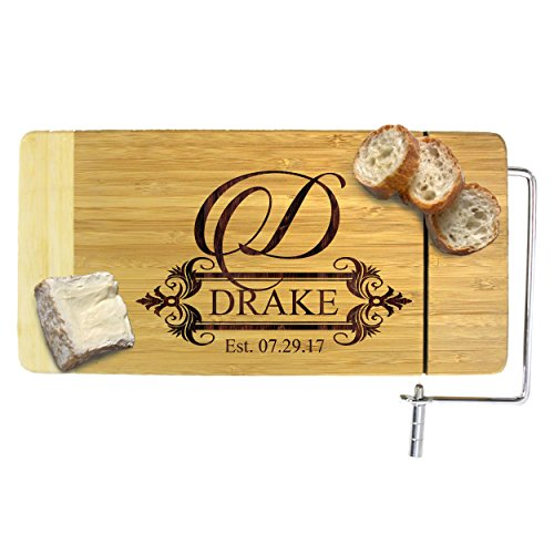 Personalized Cheese Board with Slicer - Monogrammed Bamboo Wood - Custom Engraved for Free