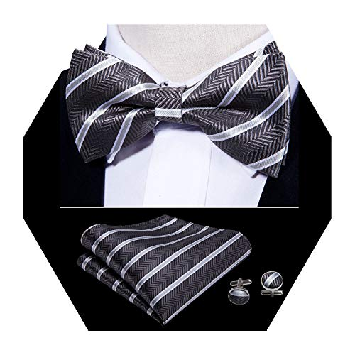 (Black Bow Tie Silk White Stripe Formal Tie Pocket Square Cufflinks Set Business)
