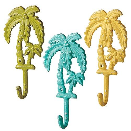3 Cast Iron Palm Tree Wall Hooks