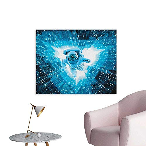 Anzhutwelve Astronaut Art Stickers Space Man Diving Into The Core Various Geometric Shapes and Triangle Space Adventures The Office Poster Blue W36 xL24 ()
