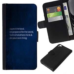 KingStore / Leather Etui en cuir / HTC Desire 820 / Blue Love Quote Mensaje Paint Wallpaper