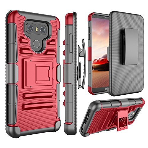 LG G6 Case, Jeylly [Armor Shield] [Belt Swivel Clip] Holster with Kickstand Heavy Duty Full Body Dual Layer Hybrid Impact Protection Tough Rugged Defender Armor Military Cases Cover for LG G6 - Red