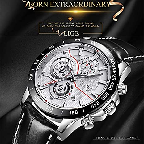 Amazon.com: Mens Watches LIGE Top Brand Luxury Leather Waterproof Multi-function Quartz Watch mans Military Sport Relojes Relogio Masculino 73 (silver black ...