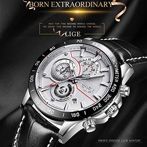 Amazon.com: Mens Watches LIGE Top Brand Luxury Leather Waterproof Multi-Function Quartz Watch Mans Military Sport Relojes Relogio Masculino 73 (Silver Black ...