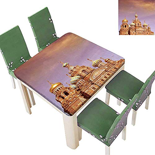 (Decorative Tablecloth Church of The Saviour on Spilled Blood or Cathedral of The Resurrection of Christ Assorted Size 52 x 52 Inch (Elastic Edge) )
