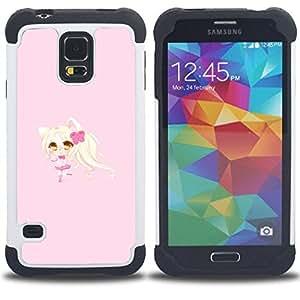 For Samsung Galaxy S5 I9600 G9009 G9008V - Blonde Anume Character Cat Ears Girl /[Hybrid 3 en 1 Impacto resistente a prueba de golpes de protecci????n] de silicona y pl????stico Def/ - Super Marley Shop
