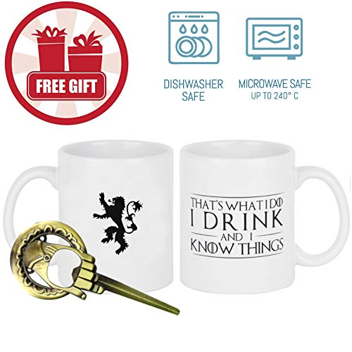 That's What I Do, I Drink and I Know Things (Game of Thrones) + FREE Hand Of The King Bottle Opener,Tyrion Lannister 11 OZ Ceramic Coffee Mug with the Lannister (Best Coffee Mug Thing Coffee Mugs)