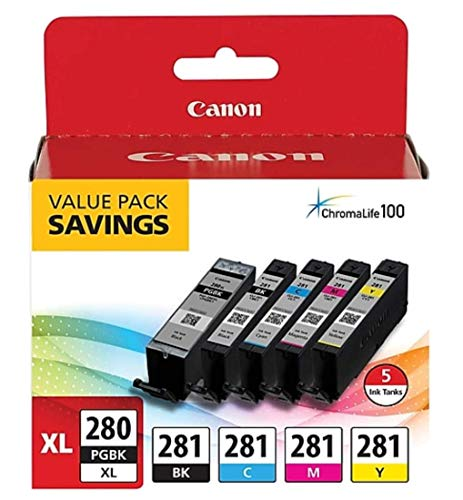(Canon CLI-281 BKCMY 4-Color Ink Tank Value Pack (2091C005) + Canon PGI-280 XL Pigment Black Ink Tank (2021C001))