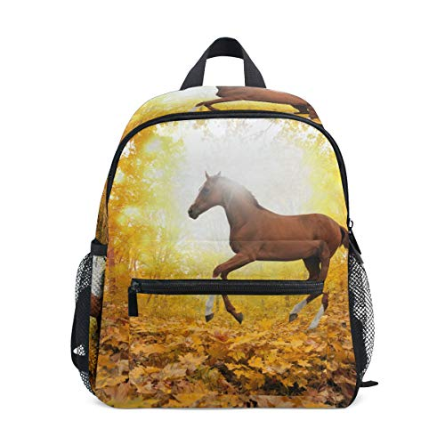 FANTAZIO Backpack Elementary School Horse in Maple Leaf Forest Bookbag