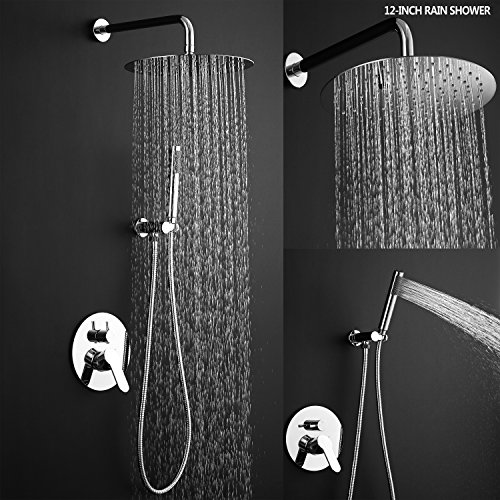 Esnbia Luxury Rain Shower Systems Wall Mounted Shower Combo Set with High Pressure 12 Inch Round Rain Shower Head and Handheld Shower Faucet Set Polished Chrome - Chrome Showerhead Combo Set