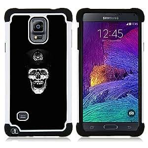 """Samsung Galaxy Note 4 IV / SM-N910 - 3 en 1 impreso colorido de Altas Prestaciones PC Funda chaqueta Negro cubierta gel silicona suave (Cráneo de Rusia"""")"""