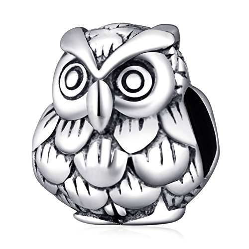 (Choruslove Wise Owl Lucky Animal Charm Antique 925 Sterling Silver Bead for European Style Bracelet Jewelry)